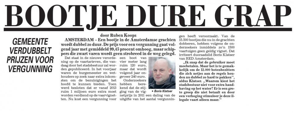 Telegraaf: Bootje Dure Grap
